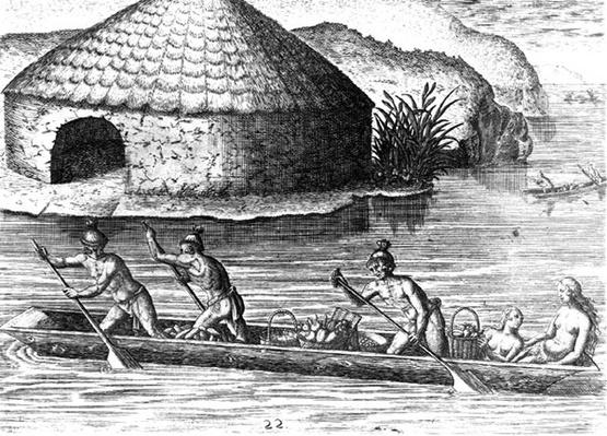Florida Indians Storing their Crops in the Public Granary, from 'Brevis Narratio', engraved by Theodore de Bry
