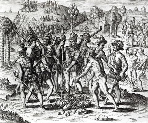 Spaniards receiving gifts from Indians, from 'History', 1598, engraved by Theodor de Bry