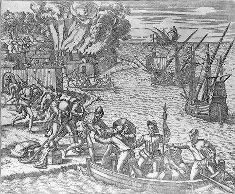The French Fleet Plundering and Setting Fire to the Town of Chioreram, engraved by Theodore de Bry