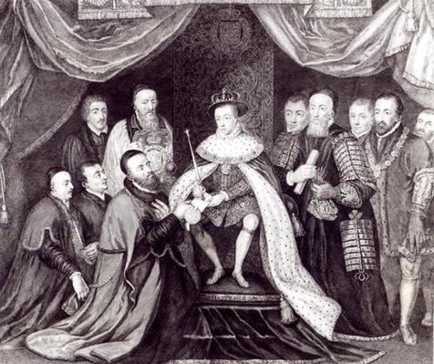 Edward VI Granting the Charter to Bridewell and Bethlehem Hospitals in 1553, engraved by George Vertue