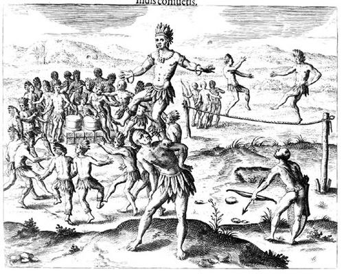 Various Indian Games, from 'Americae', 1602, engraved by Theodore de Bry