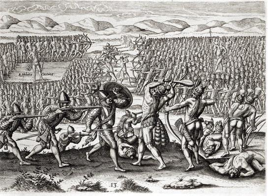 Outina defeats Patanou with the aid of the French, Florida, 1564, from 'Brevis Narratio' engraved by Theodore de Bry by Le Moyne, Jacques (de Morgues) (d.1587)