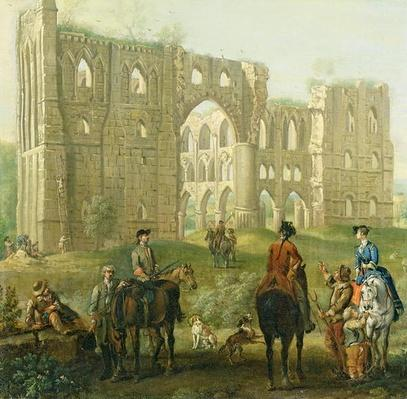 Riders Pausing by the Ruins of Rievaulx Abbey, c.1740-50