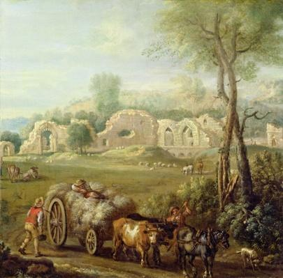 Haycart Passing a Ruined Abbey, c.1740-50