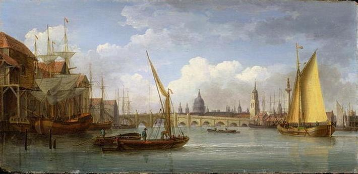 London Bridge, with St. Paul's Cathedral in the Distance, 1815