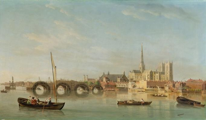 The Building of Westminster Bridge with an imaginary view of Westminster Abbey, c.1742
