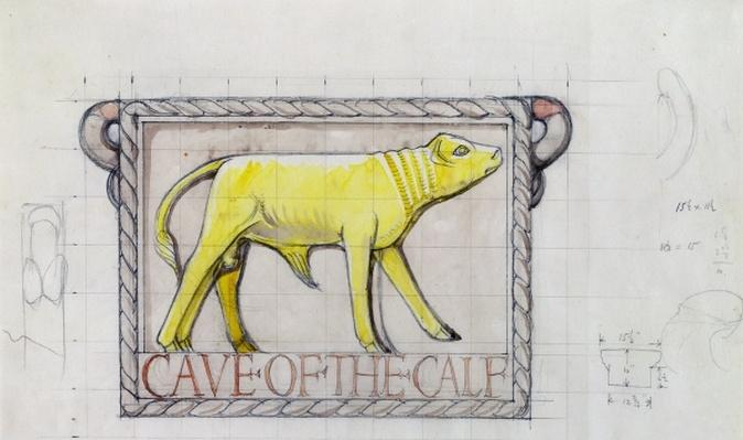 Design for bas relief of the 'Calf in the Cave of the Golden Calf'