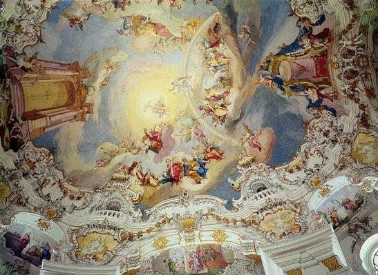The Last Judgement, ceiling painting from the flattened dome of the church