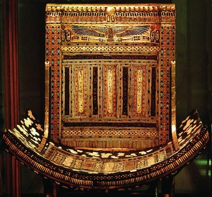 Ceremonial Chair of Tutankhamun, detail of the curved seat and back, New Kingdom, c.1325 BC