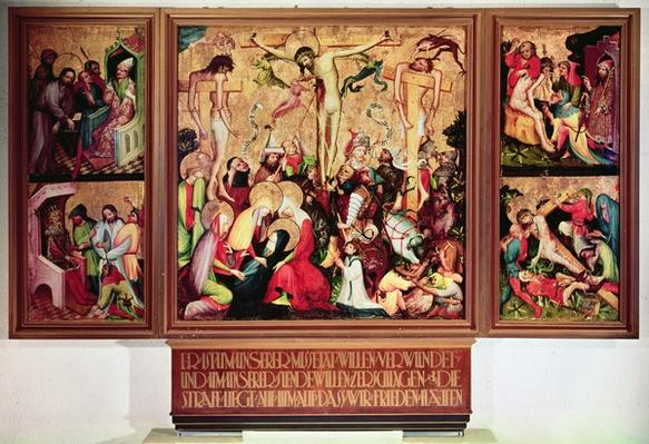 The Crucifixion, triptych with side panels depicting scenes from the Passion