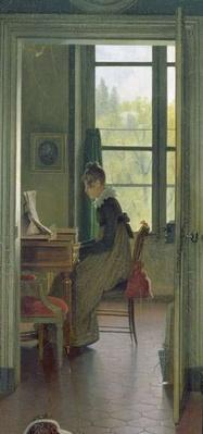 Interior of a Dining Room, detail of a woman playing the piano in the next room, 1816