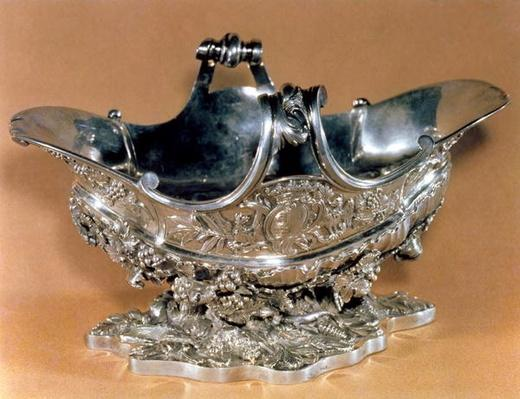 Sauce boat made for the table of Mme. de Pompadour, bearing her coat of arms, Paris, 1745-55