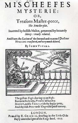 Title page to 'Mischeefes Mysterie or Treasons Master-peece, the Powder-plot', by John Vickers, 1617