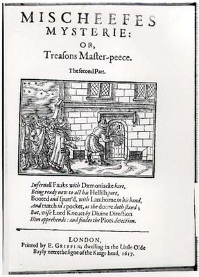 Title page to 'Mischeefes Mysterie or Treasons Master-peece - The Second Part' by John Vicars 1617