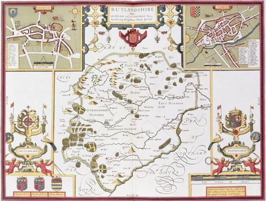 Rutlandshire with Oukham and Stanford, engraved by Jodocus Hondius