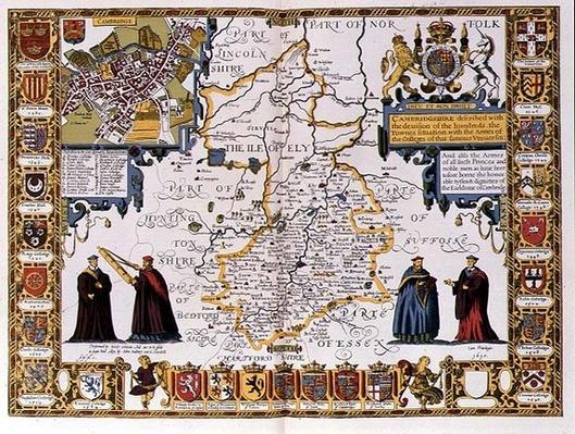 Cambridgeshire, engraved by Jodocus Hondius
