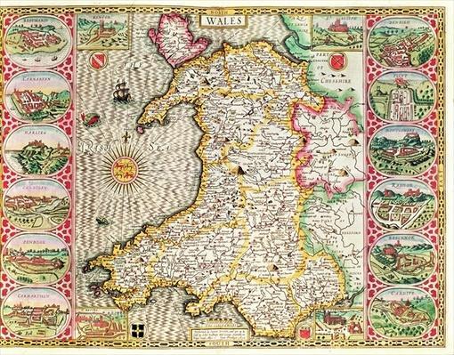 Wales, engraved by Jodocus Hondius