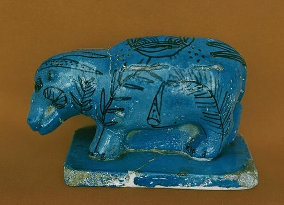 Blue hippopotamus with black decoration, from Dra Aboul Naga, Middle Kingdom