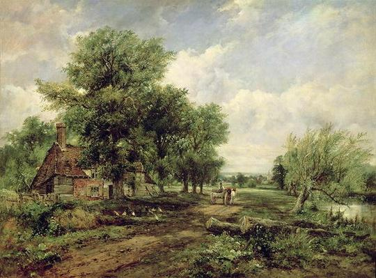Wooded river landscape with a cottage and a horse drawn cart