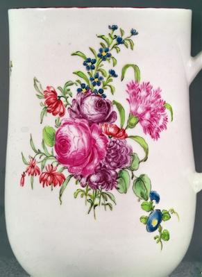Detail of Longton Hall Trembly Rose mug decoration, c.1755