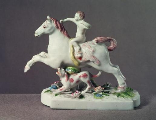 Longton Hall figure of Cupid riding a horse, c.1755