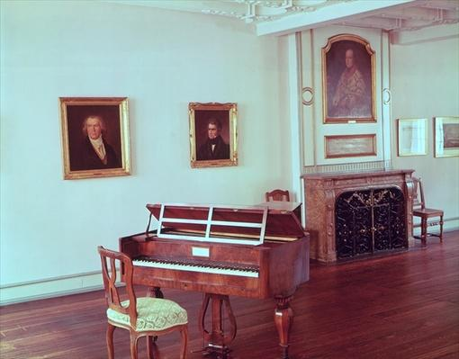 View of a room with a grand piano belonging to Ludwig van Beethoven