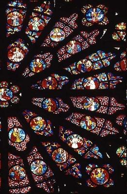 West Rose Window, detail from the Death of the Blessed Virgin Mary, c.1270