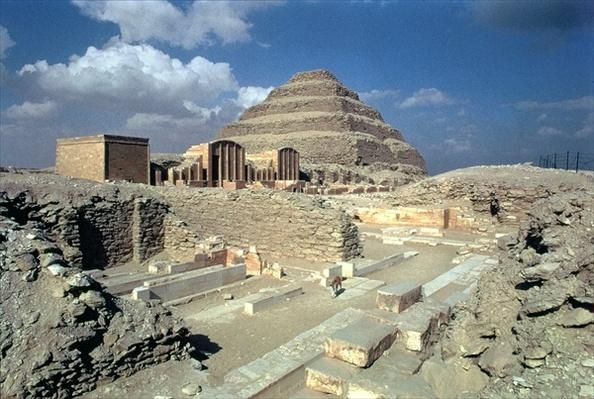 Complex of Djoser including the Step Pyramid and the entrance to the enclosure, Egyptian, Old Kingdom