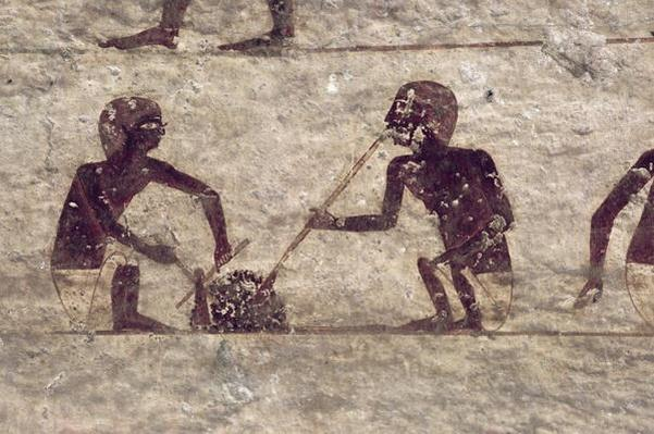 Glass Blowers, detail from a tomb wall painting, Egyptian, Old to Middle Kingdom