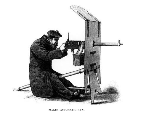 Maxim Automatic Gun, a recoil-operated machine gun patented by Hiram Stevens Maxim