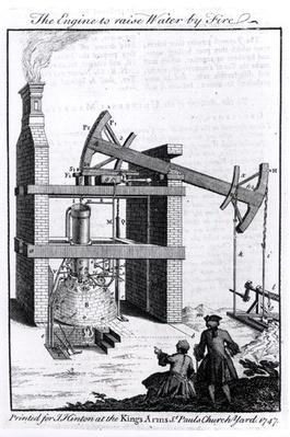 The Engine to Raise Water by Fire, a diagram of Newcomen's steam engine for the 'Universal Magazine', 1747