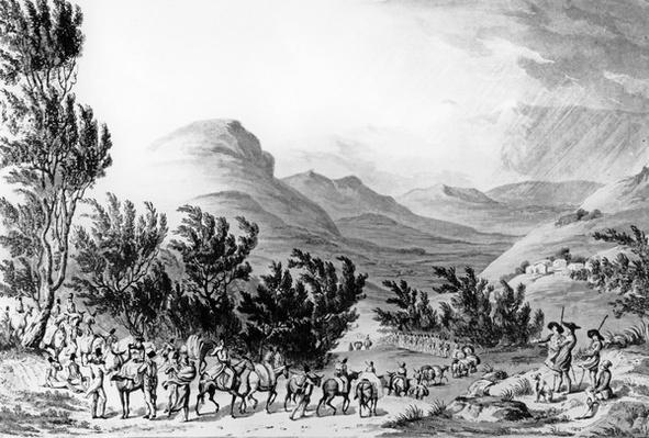 Serra de Estrella or de Neve, the March of Baggage Following the Army, May 16th 1811, engraved by Charles Turner, 1815