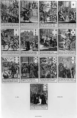 Playing cards depicting the impeachment of Henry Sacheverell