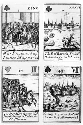 Playing cards commemorating the War of the Spanish Succession