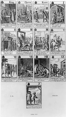 Playing cards depicting the Murder of Sir Edmund Berry Godfrey