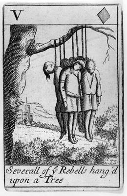 Several Rebels Hanged from a Tree, five of hearts playing card from a set commemorating Monmouth's Rebellion in 1685