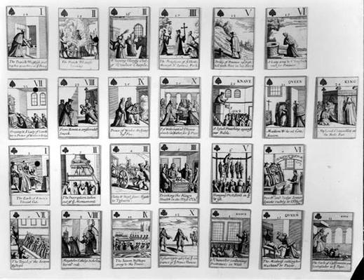 Playing cards depicting events leading up the Glorious Revolution of 1688