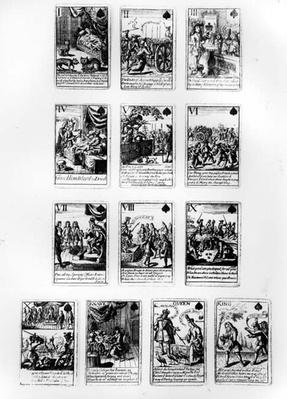 Playing cards commemorating the War of the Spanish Succession, with scenes satirizing the French royal family and court, c.1707