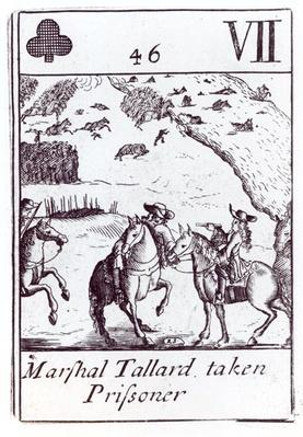 Marshal Tallard taken Prisoner, seven of clubs playing card from a set commemorating the War of the Spanish Succession