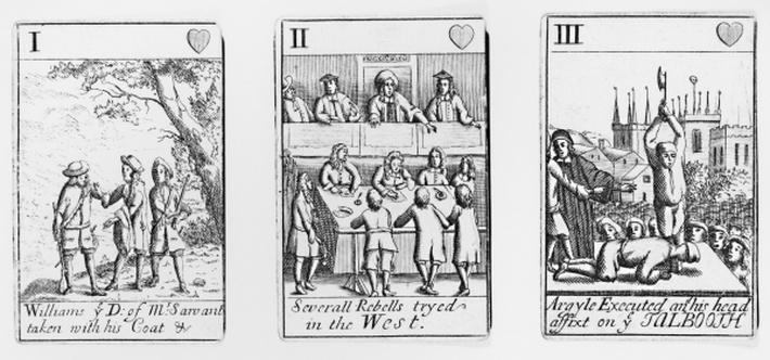 Playing cards depicting the aftermath of Monmouth's Rebellion in 1685