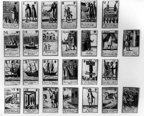 Playing cards commemorating the Rye House Plot to kill King Charles II in 1683