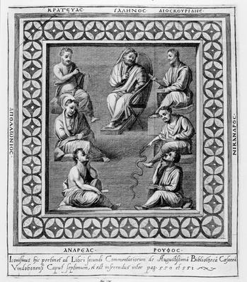 Plate illustrating seven Greek philosophers, from the seventh chapter of 'The Second Book of Commentaries on the Library of Caesar Augustus' 1668