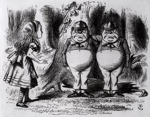 Tweedledum and Tweedledee, illustration from 'Through the Looking Glass', by Lewis Carroll, 1872