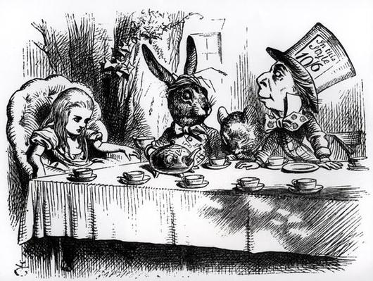 The Mad Hatter's Tea Party, illustration from 'Alice's Adventures in Wonderland', by Lewis Carroll, 1865