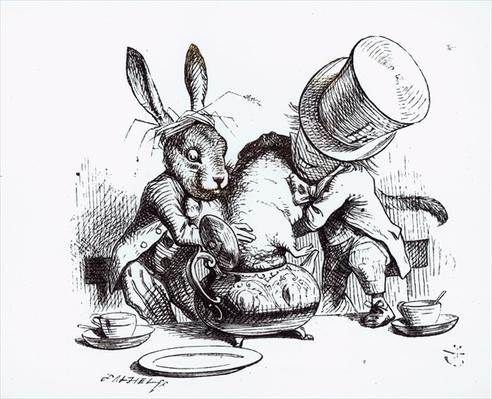 The Mad Hatter and the March Hare putting the Dormouse in the Teapot, illustration from 'Alice's Adventures in Wonderland', by Lewis Carroll, 1865