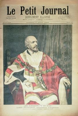 Events in Siam: Lord Dufferin, the British Ambassador, front cover of 'Le Petit Journal', 5 August 1893