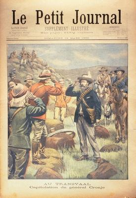 In the Transvaal: the Capitulation of General Cronje, front cover of 'Le Petit Journal', 18 March 1900