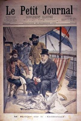 Mr Kruger on the 'Gelderland', front cover of 'Le Petit Journal', 25 November 1900