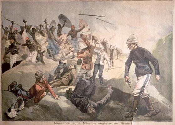 The Massacre of an English Mission in Benin, illustration from 'Le Petit Journal', January 1897