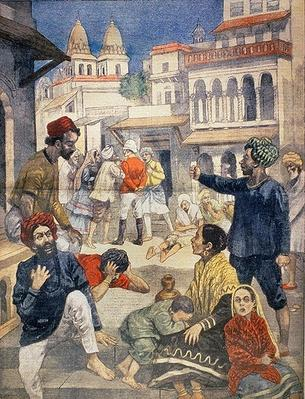 Famine in India, illustration from 'Le Petit Journal', c.1899